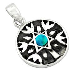 Natural green turquoise tibetan 925 silver tree of life pendant c10995