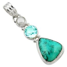 925 silver 10.78cts natural green turquoise tibetan topaz pearl pendant d42939