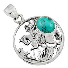 925 silver 4.21cts natural green turquoise tibetan unicorn pendant r52744