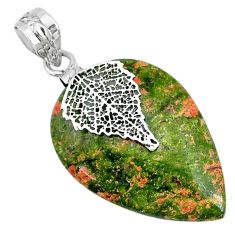 925 silver 21.66cts natural green unakite pear shape deltoid leaf pendant r74468