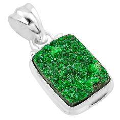 925 silver 6.45cts natural green uvarovite garnet octagan shape pendant t1950