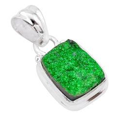 925 silver 5.51cts natural green uvarovite garnet octagan shape pendant t1995