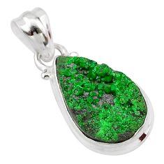 925 silver 8.51cts natural green uvarovite garnet pear handmade pendant t1977