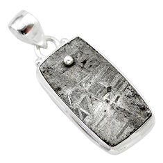 925 silver 22.44cts natural grey meteorite gibeon octagan pendant t29090
