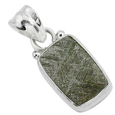 925 silver 5.25cts natural grey meteorite gibeon octagan shape pendant r95339