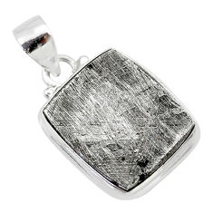 925 silver 22.96cts natural grey meteorite gibeon octagan shape pendant t29115