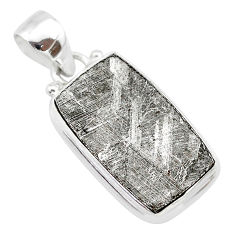 925 silver 13.15cts natural grey meteorite gibeon octagan shape pendant t29138