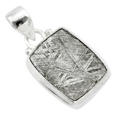 925 silver 15.39cts natural grey meteorite gibeon octagan shape pendant t29150