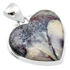 925 silver 16.68cts natural grey porcelain jasper (sci fi) heart pendant t13383