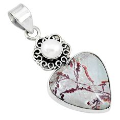 925 silver 18.94cts natural grey sonoran dendritic rhyolite pearl pendant t10672