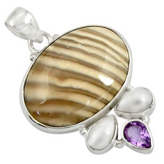 925 silver 24.38cts natural grey striped flint ohio amethyst pendant d41551