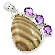 925 silver 25.00cts natural grey striped flint ohio amethyst pendant d41559
