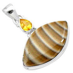 925 silver 16.73cts natural grey striped flint ohio citrine pendant t28520