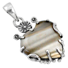 925 silver 14.25cts natural grey striped flint ohio heart heart pendant r67596
