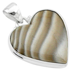 925 silver 17.18cts natural grey striped flint ohio heart pendant t13289
