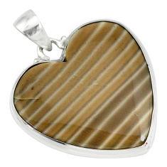925 silver 18.70cts natural grey striped flint ohio heart shape pendant r83186