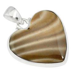 925 silver 16.20cts natural grey striped flint ohio heart shape pendant r83192