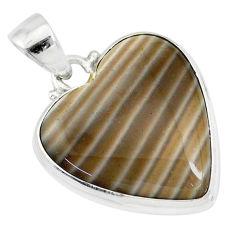 925 silver 14.72cts natural grey striped flint ohio heart shape pendant r83209