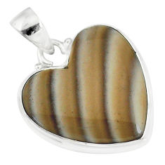 925 silver 14.07cts natural grey striped flint ohio heart shape pendant r83220