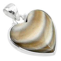 925 silver 18.68cts natural grey striped flint ohio heart shape pendant t13284