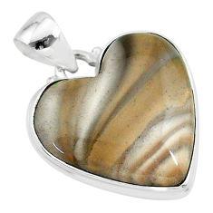 925 silver 16.73cts natural grey striped flint ohio heart shape pendant t13294