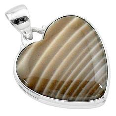 925 silver 18.70cts natural grey striped flint ohio heart shape pendant t13303