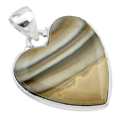 925 silver 19.20cts natural grey striped flint ohio heart shape pendant t13307