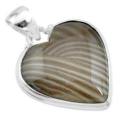 925 silver 17.57cts natural grey striped flint ohio heart shape pendant t13309