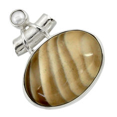 925 silver 27.70cts natural grey striped flint ohio white pearl pendant d41557