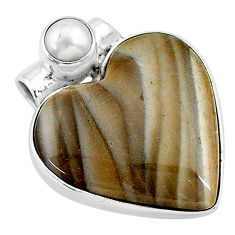 925 silver 13.22cts natural grey striped flint ohio white pearl pendant t13127