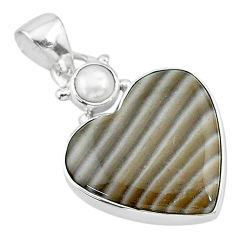 925 silver 13.22cts natural grey striped flint ohio white pearl pendant t13156