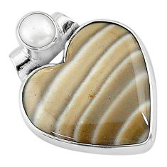 925 silver 11.73cts natural grey striped flint ohio white pearl pendant t13159