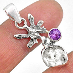 925 silver 7.11cts natural herkimer diamond angel wings fairy pendant r61406