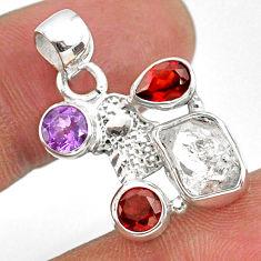 925 silver 8.73cts natural herkimer diamond hand of god hamsa pendant r61336