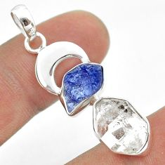 925 silver 10.28cts natural herkimer diamond tanzanite raw pendant t49946