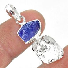 925 silver 10.79cts natural herkimer diamond tanzanite raw pendant t49954