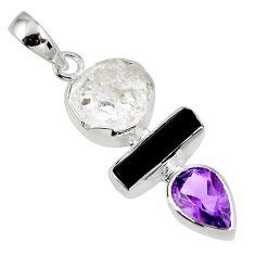 925 silver 11.55cts natural herkimer diamond tourmaline rough pendant r56649