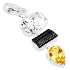 925 silver 11.74cts natural herkimer diamond tourmaline raw pendant r83059