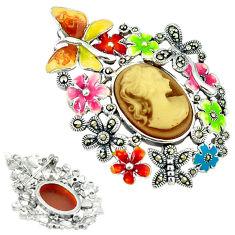 925 sterling silver natural honey onyx marcasite enamel butterfly pendant c18840