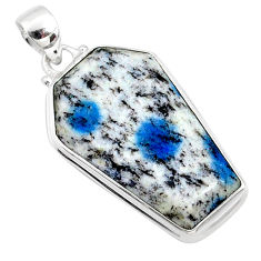 925 silver 19.72cts natural k2 blue (azurite in quartz) coffin pendant r66296
