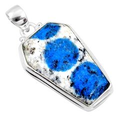 925 silver 18.70cts natural k2 blue (azurite in quartz) coffin pendant r66300