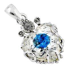 925 silver 12.71cts natural k2 blue (azurite in quartz) heart pendant r67600