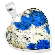 925 silver 14.23cts natural k2 blue (azurite in quartz) heart pendant r86287