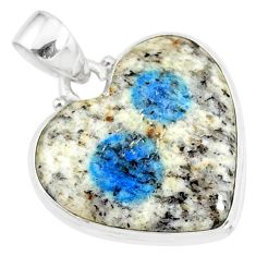 925 silver 14.12cts natural k2 blue (azurite in quartz) heart pendant r86294