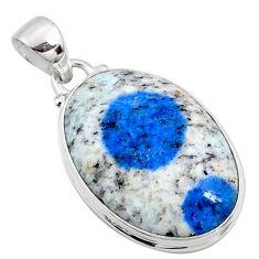 925 silver 16.73cts natural k2 blue (azurite in quartz) oval pendant r66276