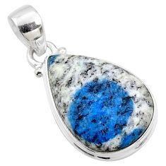 925 silver 13.70cts natural k2 blue (azurite in quartz) pear pendant r66268