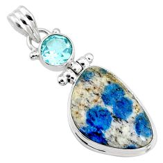 925 silver 15.65cts natural k2 blue (azurite in quartz) topaz pendant r66287