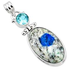 925 silver 17.57cts natural k2 blue (azurite in quartz) topaz pendant r66292