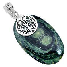 925 silver 34.85cts natural kambaba jasper (stromatolites) oval pendant r74426