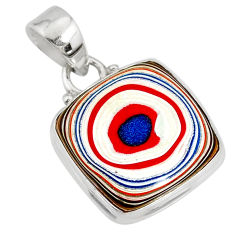 925 silver 8.55cts natural lemon fordite detroit agate cushion pendant r77924